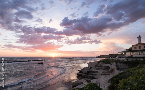 Sunset in Anzio. Province Roma, Italy Wallpaper Mural