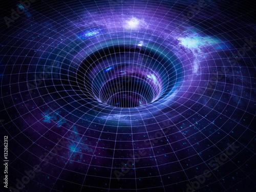 Fototapeta Black hole, wormhole in space