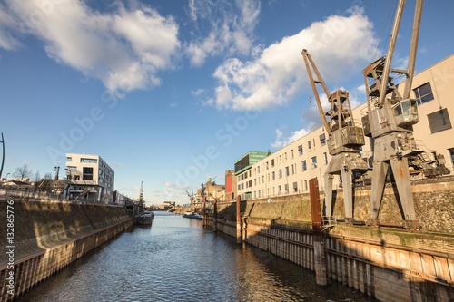 Foto auf Gartenposter Stadt am Wasser rhine river harbor neuss germany