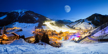 Ski Resort Village Panorama Alpine Mountains Landscape