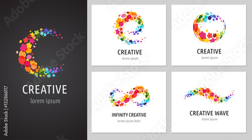 Fotografie, Obraz  Creative, digital abstract colorful icons, elements and symbols, logo collection