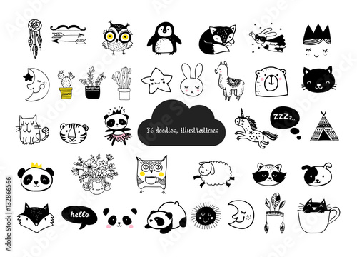 Scandinavian Style Simple Design Clean And Cute Black White Ilrations Collection Of Children Doodles Sketches