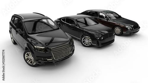 Photo  Luxury transportation / 3D render image representing an luxury car hire fleet