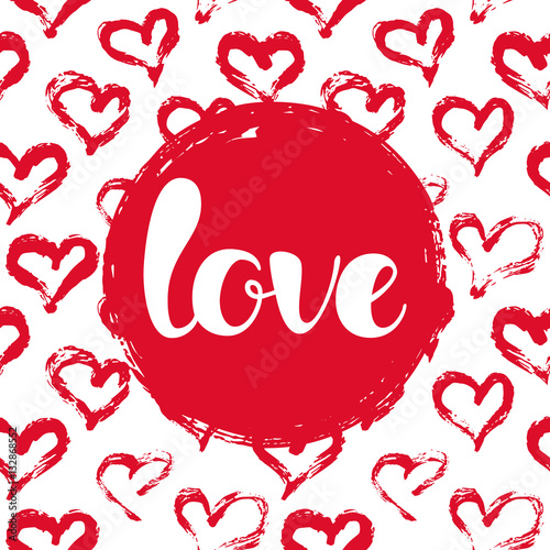 Stampa su Tela Vector illustration with hearts and LOVE lettering