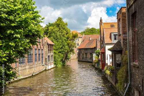 Wall Murals Bridges Houses along the canal in Bruges