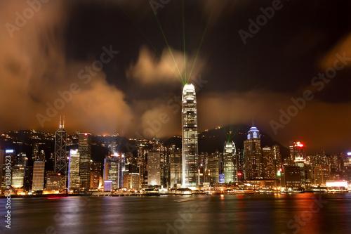 фотография  Hong Kong Harbor at Night Lightshow from Kowloon