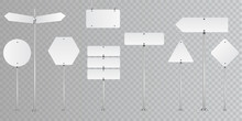 Set Of Blank Vector Road Signs Isolated On Transparent Background.