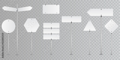 Fotografia  Set of blank vector road signs isolated on transparent background