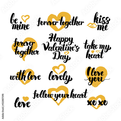 Valentine Day Hand Drawn Quotes Buy This Stock Vector And Explore