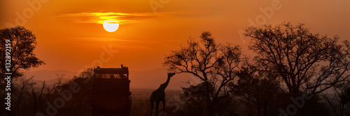 In de dag Afrika African Safari Sunset Silhouette