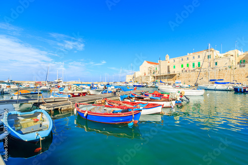 Foto auf Gartenposter Stadt am Wasser Fishing boats in small port Giovinazzo near Bari, Apulia, Italy