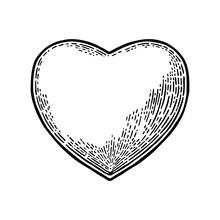 Heart. Vector Black Vintage Engraving Illustration
