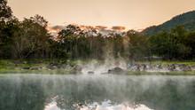 Morning Fog Over Hot Spring At Chae Sorn National Park, Thailand