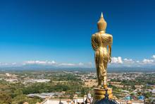 Golden Buddha Statue In Khao Noi Temple, Nan Province, Thailand