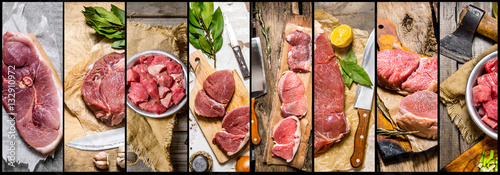 Fototapeta Food collage of raw meat . obraz