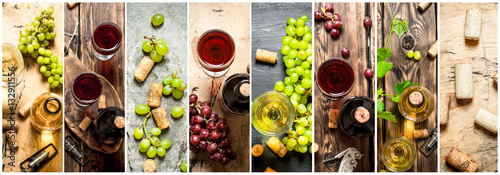 Fotobehang Bar Food collage of red and white wine.