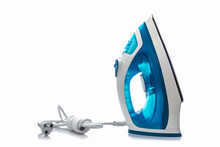 Steam Iron On White Background.