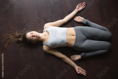 Fotografie, Obraz  Top view of Reclining Hero yoga posture