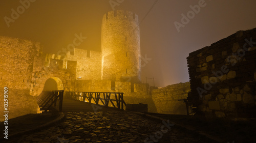 Foto op Aluminium Vestingwerk Tower and wooden bridge of Kalemegdan fortress at foggy night in Belgrade, Serbia