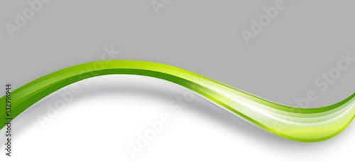 Plakat fala zielony szary biały transparent tło wstążka
