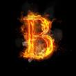 Fire letter B of burning flame light