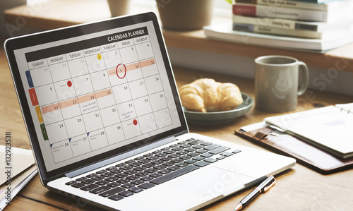 Photo Notebook Calendar Laptop Appointment Schedule COncept
