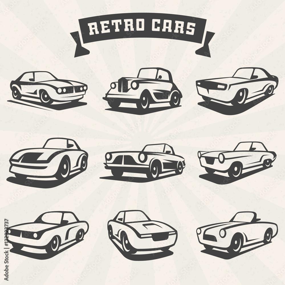 Zestaw sylwetki klasycznych samochodów. Elementy logo projektu samochody retro. Ilustracji wektorowych <span>plik: #132923737 | autor: antartstock</span>