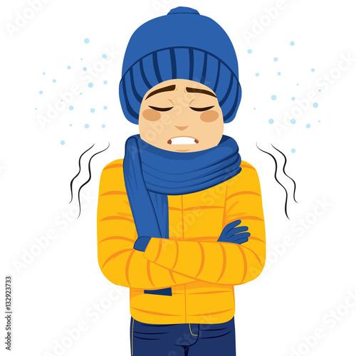 Fényképezés Young man freezing wearing winter clothes shivering
