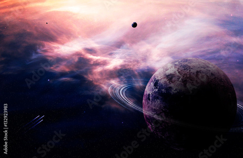 Space background. Colorful nebula with planet and spaceship. Elements furnished by NASA. 3D rendering