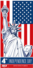 Independence Day, Statue Of Liberty, USA Flag