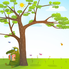 Naklejka Do pokoju dziecka Funny monster under the summer tree reading book background