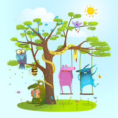 Fototapeta Do pokoju dziecka Cute summer animals freinds playing under the tree, swinging, reading.