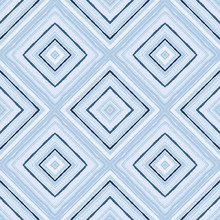 Striped Diagonal Rectangle Seamless Pattern. Square Rhombus Lines With Torn Paper Effect. Ethnic Background. Blue, White, Cold Colors. Vector