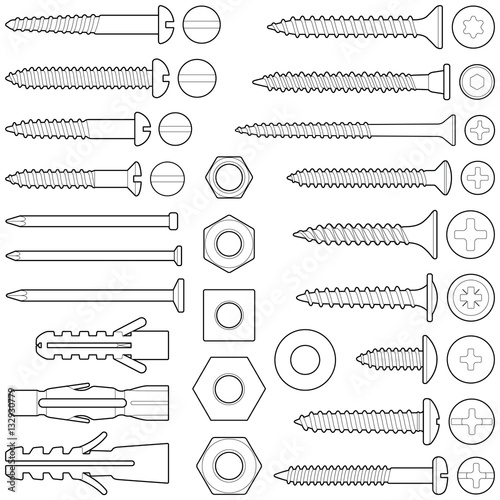 Screws / nuts / nails and wall plugs collection - vector line illustration
