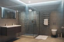 Gray Modern Shower Room In The...