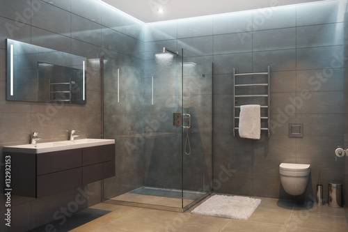 Foto  Gray modern shower room in the evening