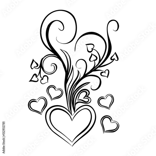 Printed kitchen splashbacks Butterflies in Grunge Heart with bouquet of bows