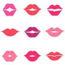 Set Of Women S Lips Icons Isolated On White