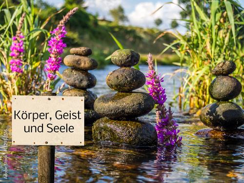 Foto op Plexiglas Bar Schild Körper Geist und Seele