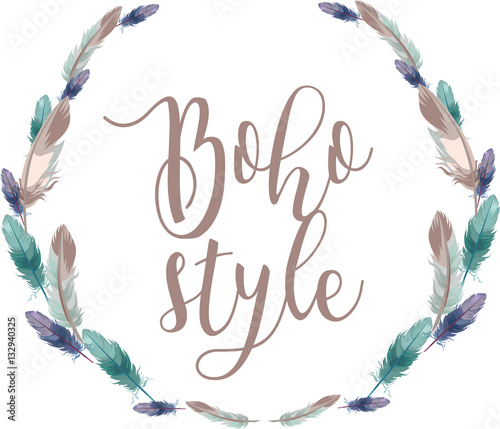 Photo  Beautiful feathers wreath with calligraphy inscription Boho Style