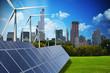 Leinwandbild Motiv Modern green city powered only by renewable energy sources concept
