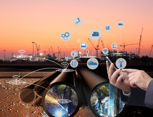 industry 4.0 , file of Tubes running in the direction or Pipeline transportation is most common way of transporting goods such as Oil, natural gas or water on long distances.