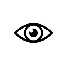 Eye Icon. Black Icon Isolated On White Background. Eye Silhouette. Simple Icon. Web Site Page And Mobile App Design Vector Element.