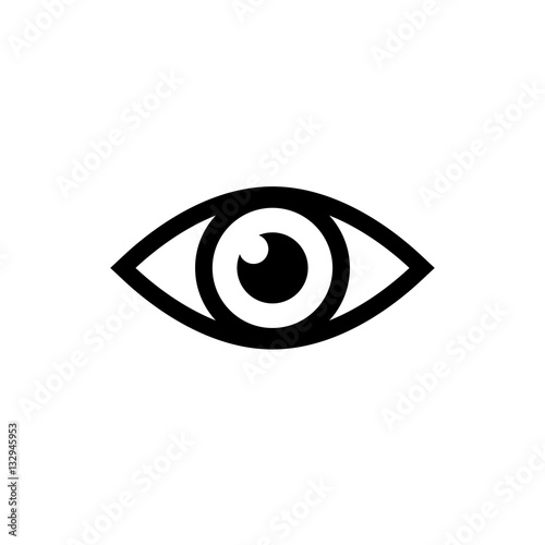 Eye icon. Black icon isolated on white background. Eye silhouette. Simple icon. Web site page and mobile app design vector element. Fototapete