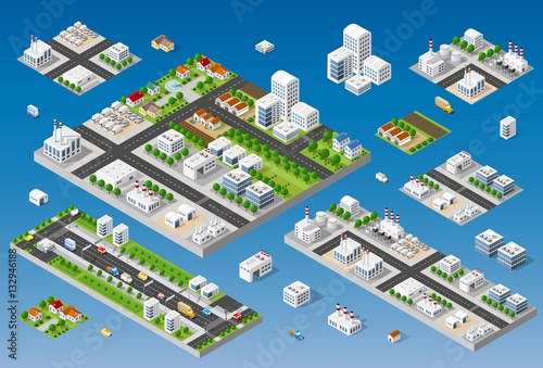 Cityscape Design Elements With Isometric Building City Map Generator. 3D Flat Icon Set. Isolated