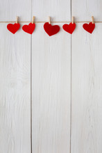 Valentine Day Background, Paper Hearts Border On Wood, Copy Space