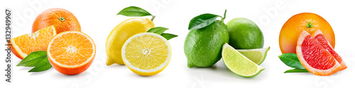 Photo Stands Fruits Fruit compositions with leaves isolated on white background. Ora