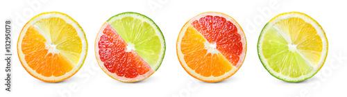Fotomural Citrus fruit. Mix of orange, lemon, lime, grapefruit. Slices iso