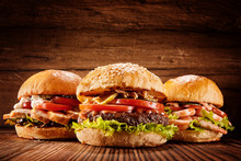 Large Chicken, Beef And Shrimp Burgers