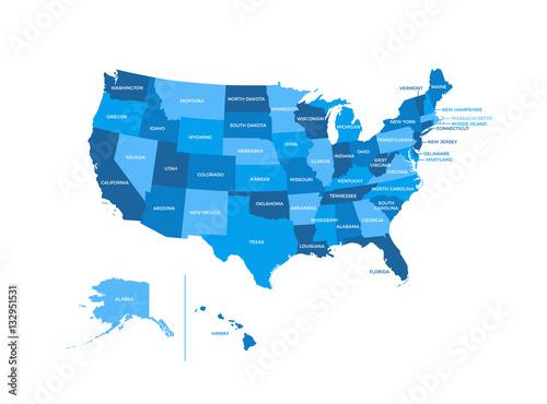 Photo  United States of America USA Regions Map